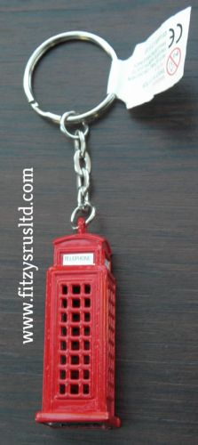 LONDON RED TELEPHONE BOX OLD GPO 3D KEYRING UK ENGLAND SOUVENIR KEY RING